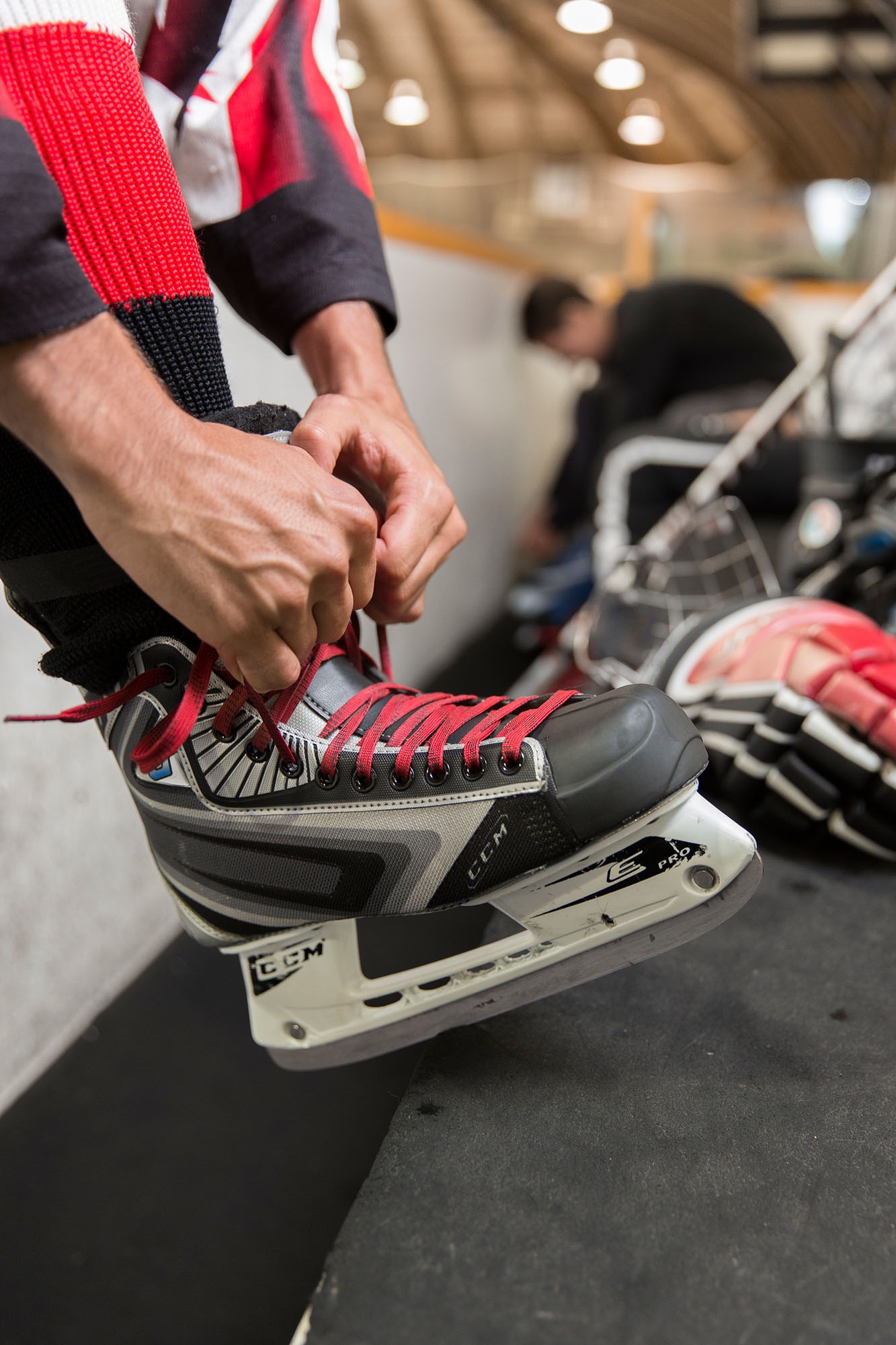 A hockey skate containing a Bladetech spring-loaded blade that allows skaters to go faster and protect against injuries. The new skate was developed by University of Waterloo Engineering graduate, Jeffrey Azzolin. Copyright University of Waterloo