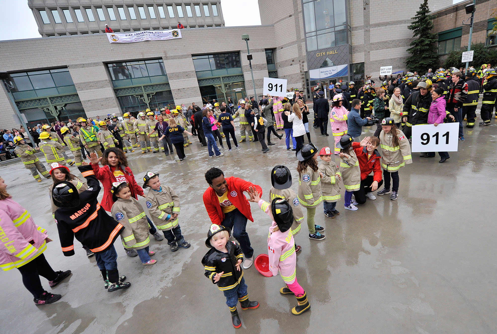CITY OF BARRIE - Dogs fly and firefighters dance in flash mob to