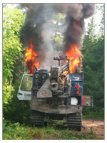 SWN fracking equipment, in flames.